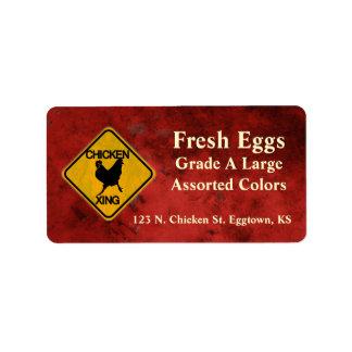Etiqueta del huevo de la travesía del pollo etiquetas de dirección