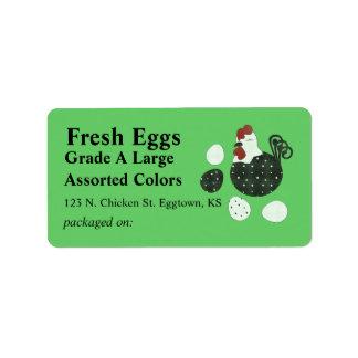 Etiqueta del huevo del pollo del estilo del arte p etiquetas de dirección