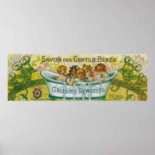 Etiqueta del jabón del DES Gentils Bebes de Savon Póster