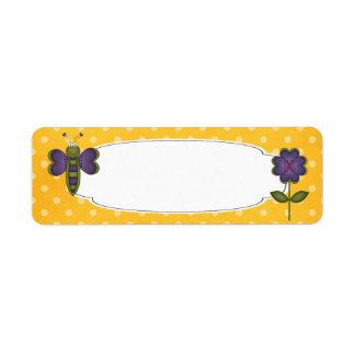 Etiqueta del jardín de la mariposa etiquetas de remite