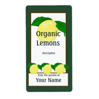 Etiqueta del jardinero de los limones etiqueta de envío