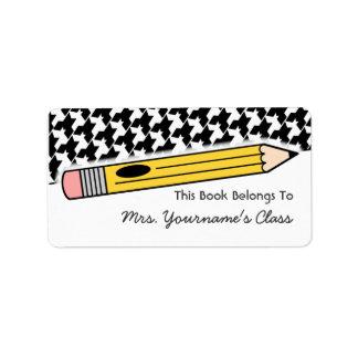 Etiqueta del lápiz y del libro de escuela de etiquetas de dirección