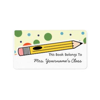 Etiqueta del lápiz y del libro de escuela de los etiqueta de dirección
