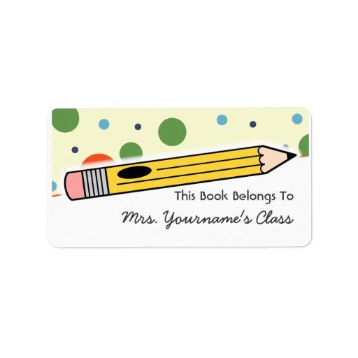 Etiqueta del lápiz y del libro de escuela de los l etiqueta de dirección