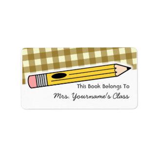 Etiqueta del libro de escuela de la guinga del láp etiqueta de dirección