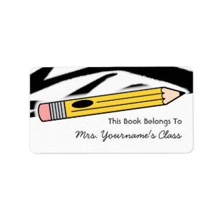 Etiqueta del libro de escuela del lápiz y del etiquetas de dirección