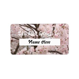 Etiqueta del libro de la flor de cerezo etiqueta de dirección