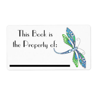 Etiqueta del libro de la libélula etiqueta de envío