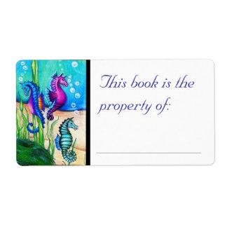 Etiqueta del libro de los caballos de mar etiqueta de envío