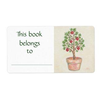 Etiqueta del libro del árbol de granada etiqueta de envío