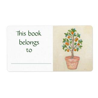 Etiqueta del libro del árbol de mandarina etiqueta de envío