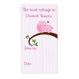 Etiqueta del libro del búho de la mamá y del bebé etiquetas de envío