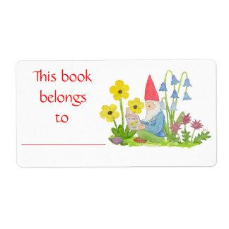 Etiqueta del libro del gnomo de la flor etiqueta de envío