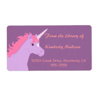 Etiqueta del libro del unicornio etiqueta de envío