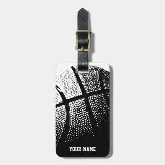 Etiqueta del lugguge del baloncesto con nombre o e etiquetas para maletas