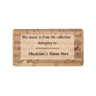 Etiqueta del manuscrito de la sonata de Beethoven  Etiqueta De Dirección