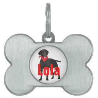 Etiqueta del mascota con el labrador retriever placa de nombre de mascota