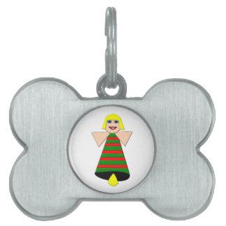Etiqueta del mascota de Bell del ángel del navidad Placa De Mascota
