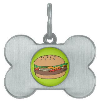 Etiqueta del mascota de la hamburguesa placa de nombre de mascota