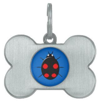 Etiqueta del mascota de la mariquita del Harlequin Placa Mascota