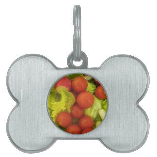 Etiqueta del mascota de las verduras de ensalada placa de nombre de mascota