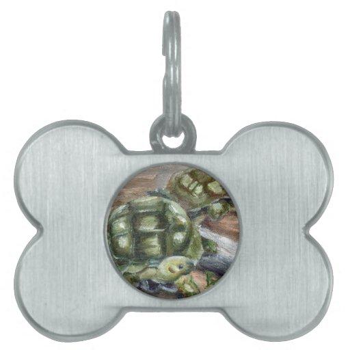 Etiqueta del mascota de los amigos de la tortuga placas de mascota