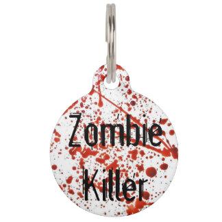 Etiqueta del mascota del asesino del zombi identificador para mascota