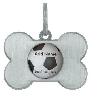 Etiqueta del mascota del balón de fútbol placa de nombre de mascota