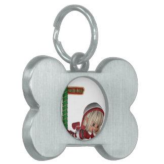 Etiqueta del mascota del duende del navidad placa de mascota