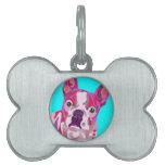 Etiqueta del mascota del hueso de Boston Terrier Placa De Nombre De Mascota
