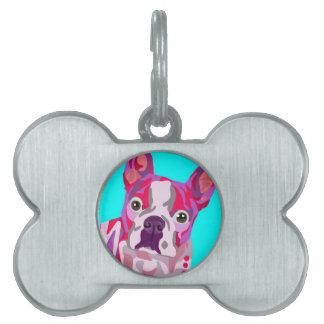Etiqueta del mascota del hueso de Boston Terrier Placas De Nombre De Mascota