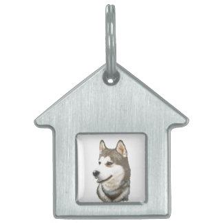Etiqueta del mascota del husky siberiano placa de nombre de mascota