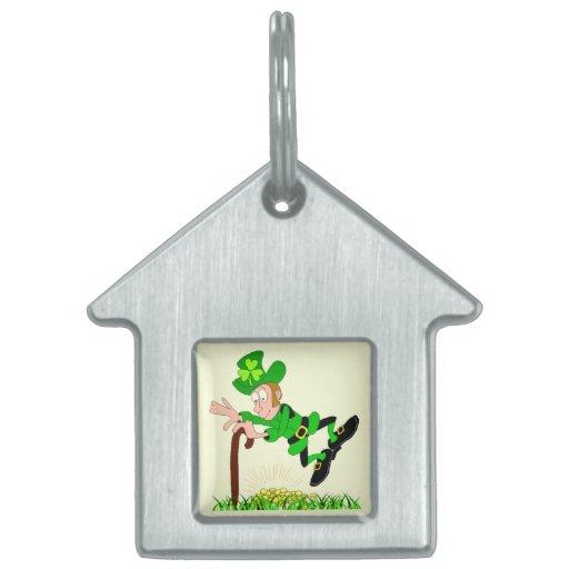 Etiqueta del mascota del Leprechaun de St Patrick Placa Mascota