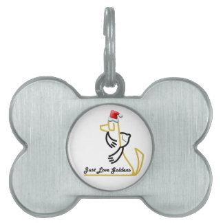 Etiqueta del mascota del navidad del golden retrie placa mascota