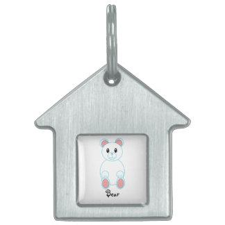Etiqueta del mascota del oso polar placa de nombre de mascota