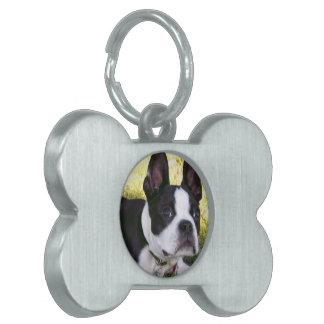 Etiqueta del mascota del perrito de Boston Terrier Placas Mascota