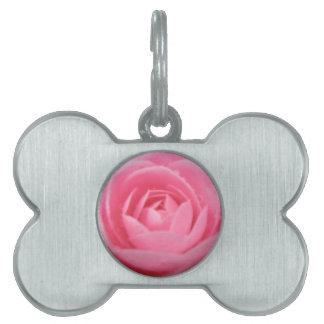 Etiqueta del mascota del rosa de la camelia placas de nombre de mascota