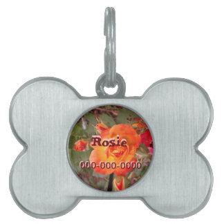 Etiqueta del mascota del rosa del fuego placas de nombre de mascota