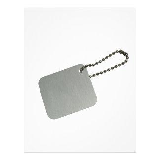Etiqueta del metal con la cadena tarjetas informativas