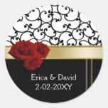 etiqueta del monograma de los rosas rojos