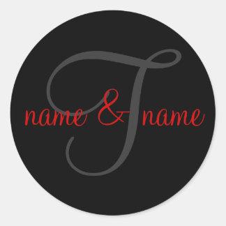 Etiqueta del monograma de T la personaliza los