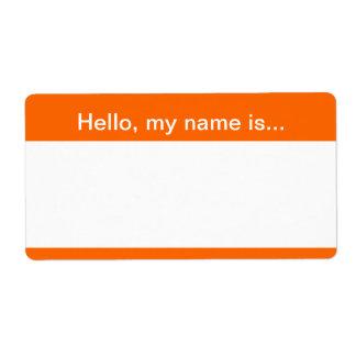 Etiqueta del naranja y blanca del nombre etiquetas de envío