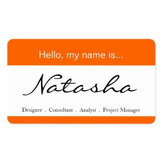 Etiqueta del naranja y blanca del nombre tarjetas de visita