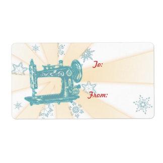 Etiqueta del navidad de la máquina de coser del vi etiqueta de envío
