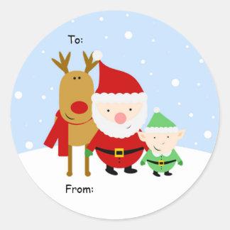 Etiqueta del navidad de Santa, de Rudolph y del