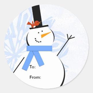Etiqueta del navidad del muñeco de nieve, a: De: