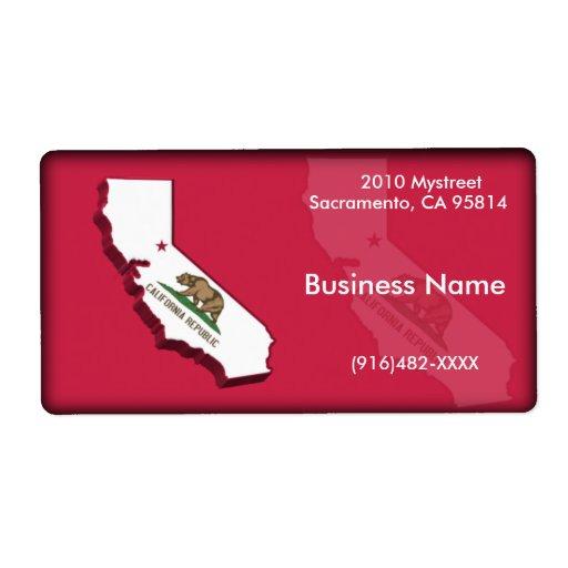Etiqueta del negocio de California Etiqueta De Envío
