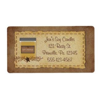 Etiqueta del negocio de la vela del tarro etiquetas de envío