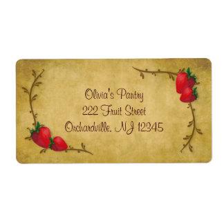 Etiqueta del negocio de las fresas del país etiqueta de envío