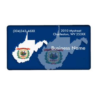 Etiqueta del negocio de Virginia Occidental Etiqueta De Envío